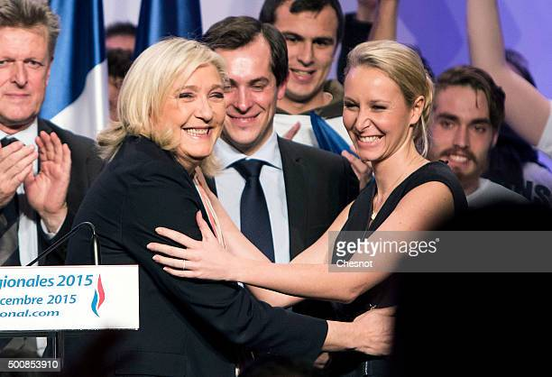 French farright National Front President and candidate in the NordPasdeCalais Picardie region for the second round of the regional elections Marine...