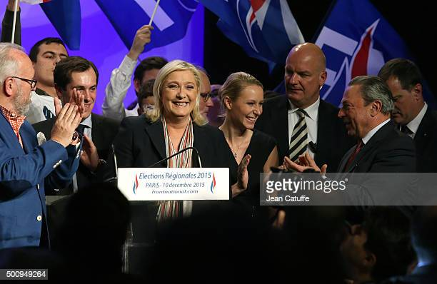 French farright National Front President and candidate in the NordPasdeCalais Picardie region Marine Le Pen and her niece French National Front...