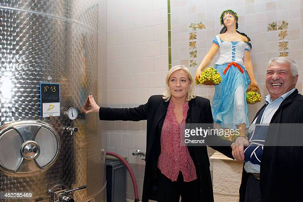 French farright National Front's Leader Marine Le Pen speaks with a winemaker during her visit in a vineyard on November 27 2013 in Sens France