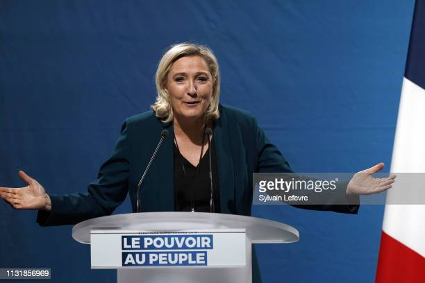 French farRight National Rally political party leader Marine Le Pen holds a campaign meeting for upcoming European Elections' on February 24 2019 in...