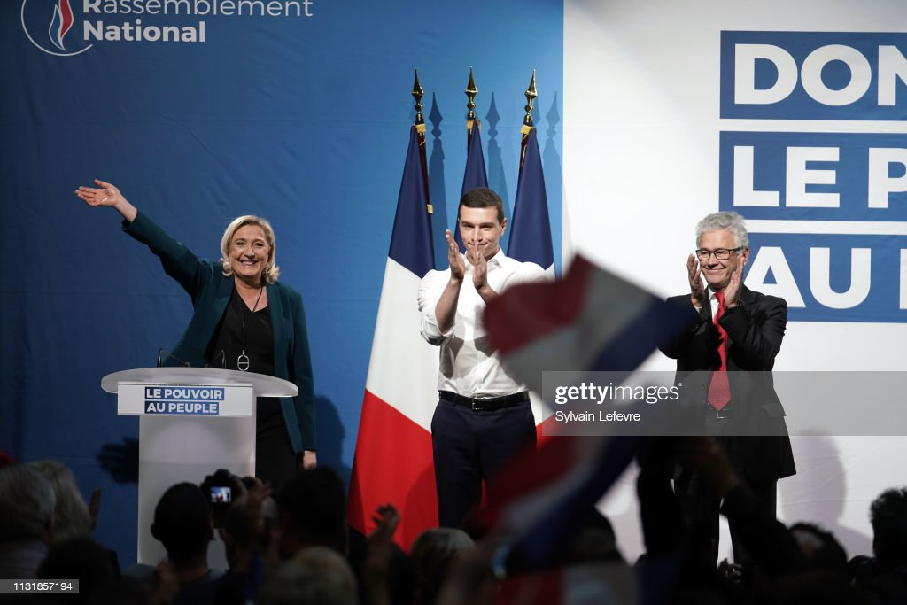 French Far-Right National Rally (RN) Political Party Leader,  Marine Le Pen Holds A Meeting For European Elections' Campaign : News Photo