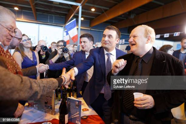 French farright new movement 'Les Patriotes' leader Florian Philippot visits stands of regional movement delegations during founder congress on...