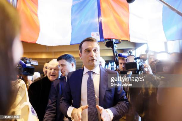 French farright new movement 'Les Patriotes' leader Florian Philippot visits stands of regional movment delegations during founder congress on...