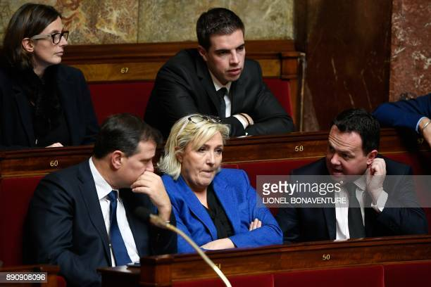 French farright party Front National deputies Emmanuelle Menard Louis Aliot Marine Le Pen Ludovic Pajot and Bruno Bilde attend a session of questions...