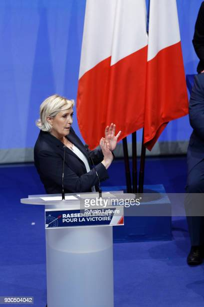 French farright party Front National president Marine Le Pen delivers the closing speech of her party's congress on March 11 2018 in Lille north of...