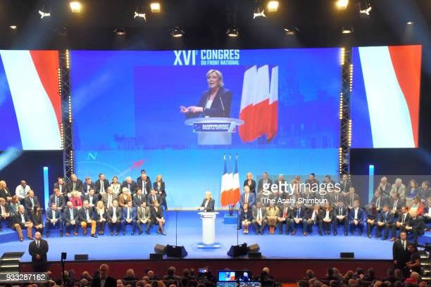 French farright party Front National president Marine Le Pen delivers the closing speech of her party's congress on March 11 2018 in Lille France She...