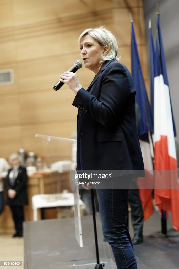French Far-right Political Party National Front  Leader Marine Visits Caudry