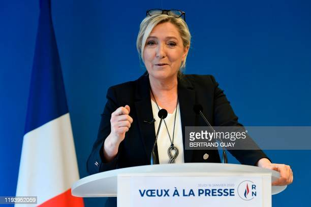 French farright party Rassemblement National president Marine Le Pen addresses her newyear wishes to the press on January 16 2020 at the party's...