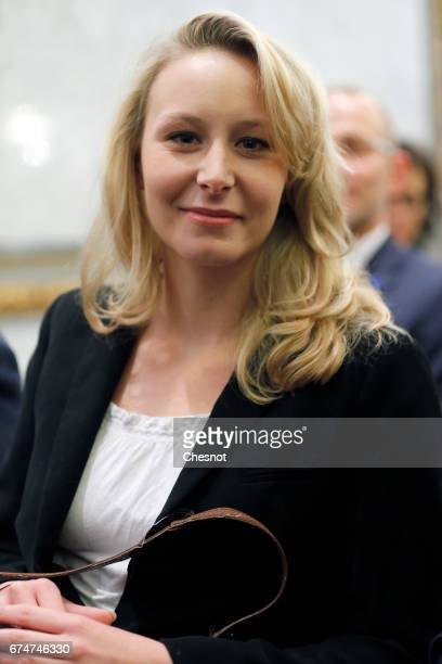 French farright political party National Front deputy Marion MarechalLe Pen attends a press conference with French presidential election candidate...