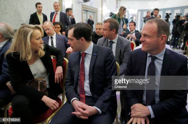 French farright political party National Front deputy Marion MarechalLe Pen speaks with General secretary of the farright Front National party...