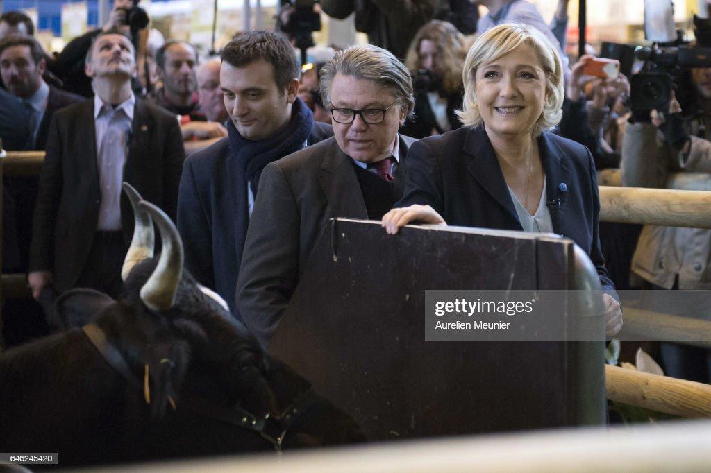 French far-right political Party National Front  Leader Marine Le Pen Visits Le Salon De L'Agriculture In Paris