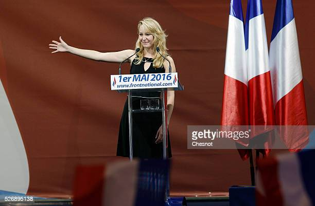 French farright political party National Front member of parliament Marion MarechalLe Pen delivers a speech during the party's traditional Joan of...