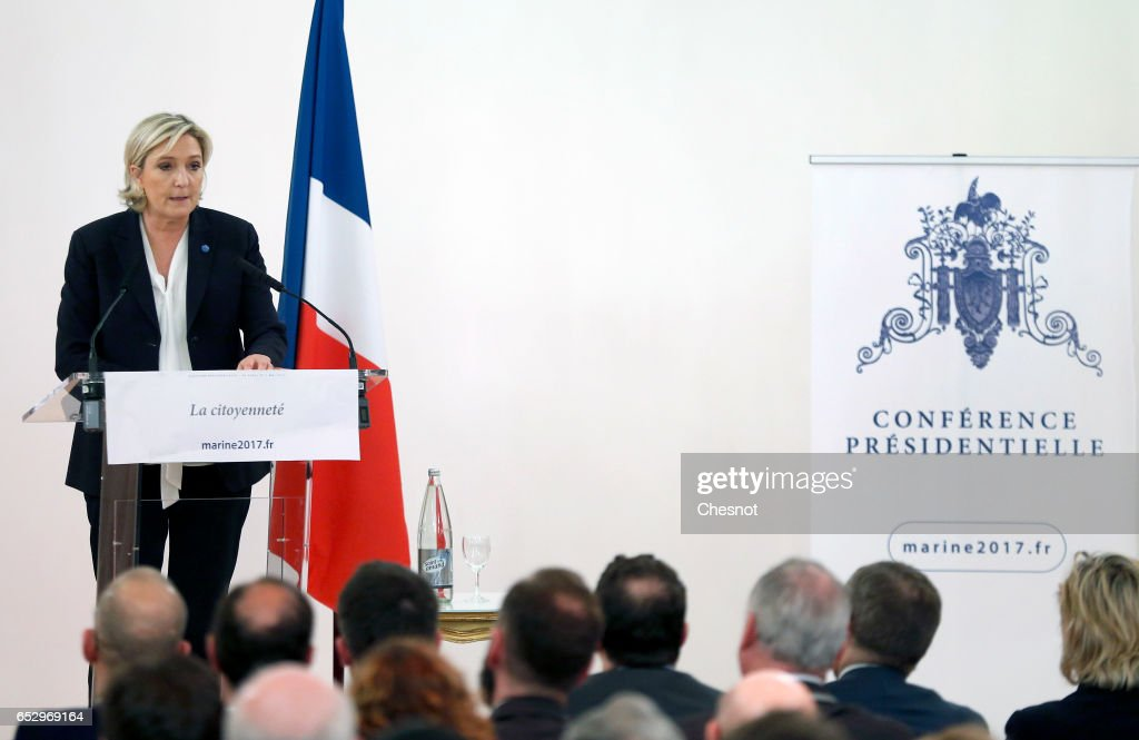 French far-right political party National Front (FN) President, Marine Le Pen delivers a speech focused on the theme 'Citizenship' during a press conference on March 13, 2017 in Paris, France. Marine Le Pen is a candidate for the Presidential elections in France this year.