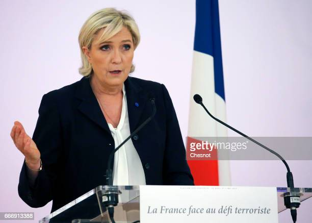French farright political party National Front President Marine Le Pen delivers a speech focused on the theme 'France faces the terrorist challenge'...