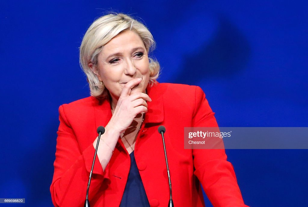 French far-right political party National Front (FN) President, Marine Le Pen delivers a speech during a campaign rally on April 17, 2017 in Paris, France. Le Pen is candidate for the France's 2017 presidential elections and polls predict his presence in the second round of this election on May 07.