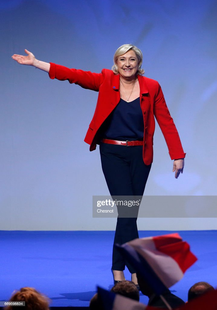 French Presidential Candidate Marine Le Pen Holds Campaign Rally