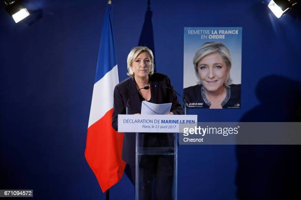 French far-right political party National Front President, Marine Le Pen makes a statement during a press conference on April 21, 2017 in Paris,...