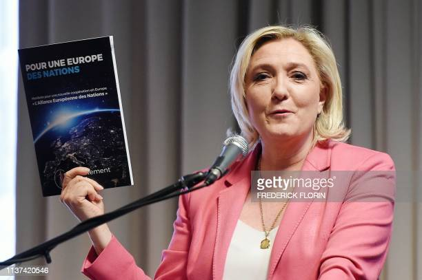 """French far-right Rassemblement National party president Marine Le Pen presents the Rassemblement National's manifesto """"The European Alliance of..."""