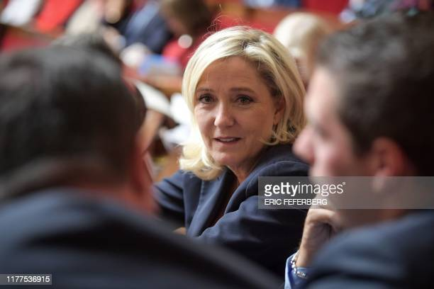 French farright Rassemblement National party's president Marine Le Pen attends a session of questions to the government at the French National...