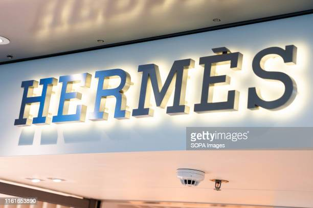 French fashion brand Hermes logo seen at their store in Hong Kong airport