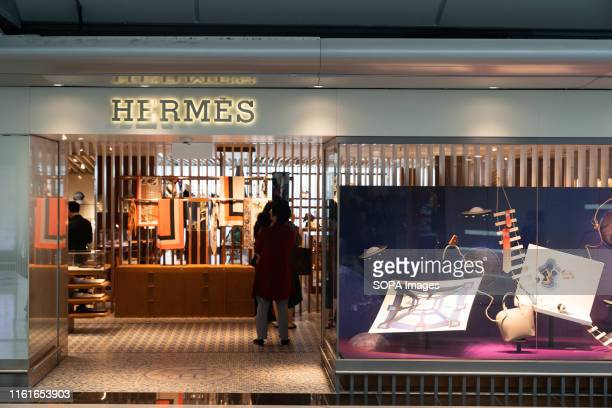 French fashion brand Hermes store seen in Hong Kong airport.