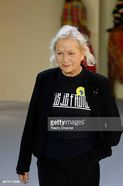 French fashion designer Agnes B acknowledges the audience at the end of the Agnes B Paris show as part of the Paris Fashion Week Womenswear...