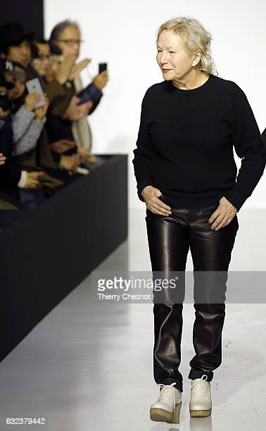 French fashion designer Agnes B acknowledges the public at the end of the Agnes B Menswear Fall/Winter 20172018 show as part of Paris Fashion Week on...