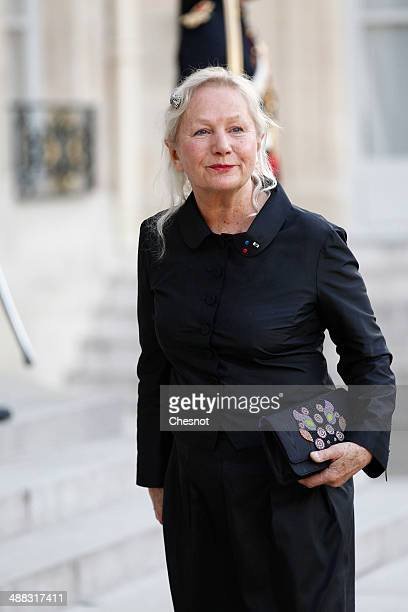French fashion designer Agnes B arrives at the Elysee palace to attend a diner in honour of Japan's prime minister on May 5 2014 in Paris France...
