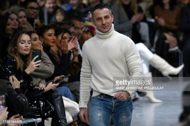 French fashion designer Alexandre Vauthier acknowledges the audience at the end of his Women's SpringSummer 2020/2021 Haute Couture collection...