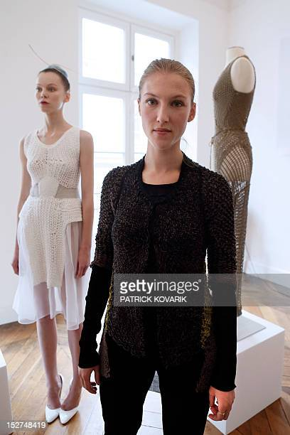 French fashion designer Alice Lemoine poses during Le Moine Tricote Spring/Summer 2013 readytowear presentation on September 25 2012 in Paris AFP...
