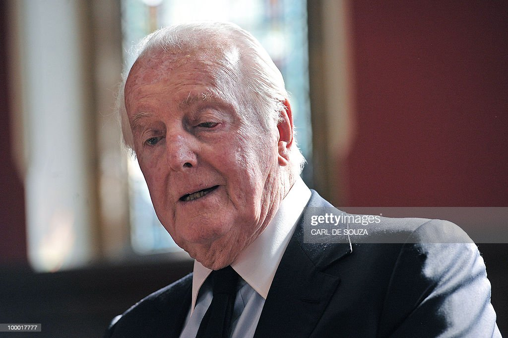 French fashion designer, aristocrat and founder of Fashion label Givenchy, Hubert Givenchy is pictured during a speech at Oxford University Union, Oxfordshire on May 20, 2010.
