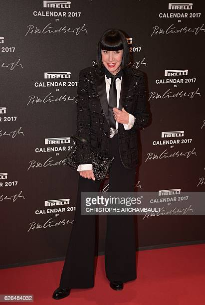 French fashion designer Chantal Thomass poses during a photocall ahead of a gala dinner held for the international launch of the 2017 Pirelli...