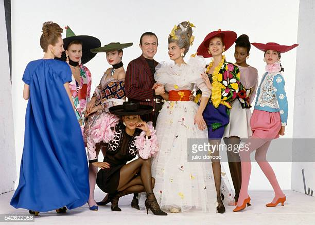 French fashion designer Christian Lacroix with his models including Marpessa Marie Seznec and Kadija wearing haute couture fashions from his first...