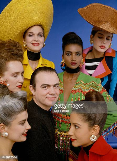 French fashion designer Christian Lacroix with his models Vanessa Diane Kadija Stephanie Marpessa and Marie Seznec wearing his brightly colored haute...