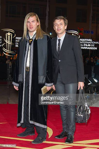 French Fashion Designer Christophe Guillarme and Thierry Marsaux arrive at the tribute to Jonathan Demme during the 12th International Marrakech Film...