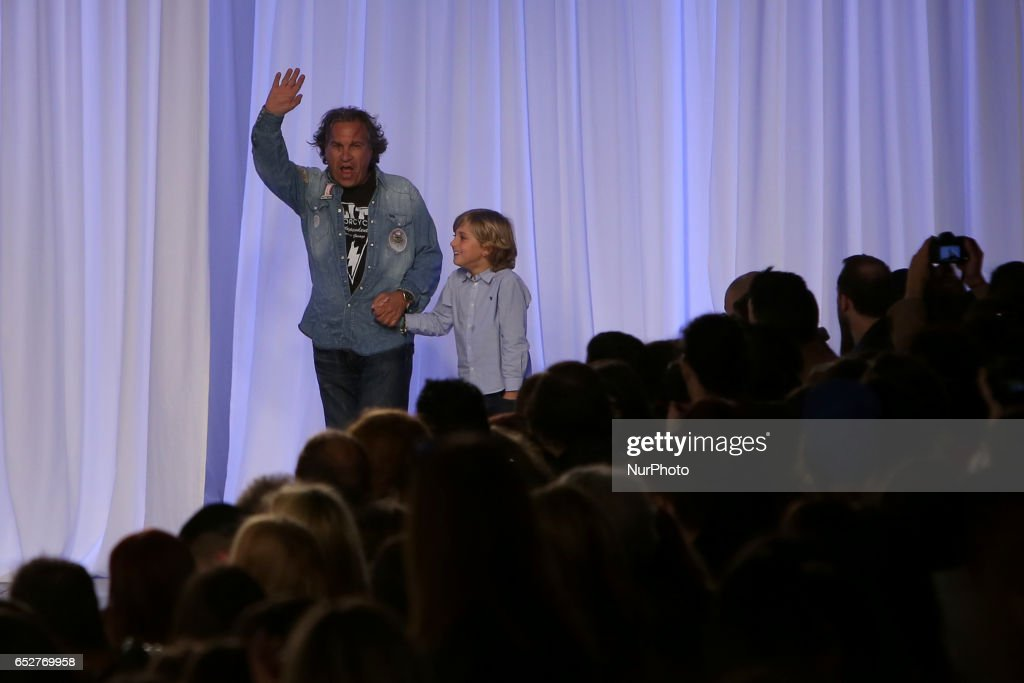 French fashion designer Christophe Sauvat acknowledges cheers after presenting the Fall/Winter 2017/2018 collection during the Lisbon Fashion Week - ModaLisboa on March 12, 2017 in Lisbon, Portugal.