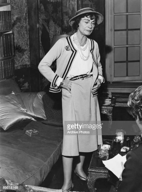 French fashion designer Coco Chanel in her apartment at the Hotel Ritz Paris, 1960.