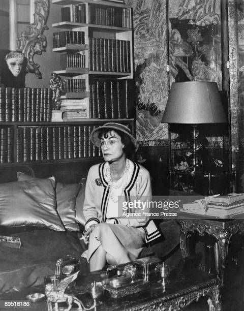 French fashion designer Coco Chanel in her apartment at the Hotel Ritz Paris 1960