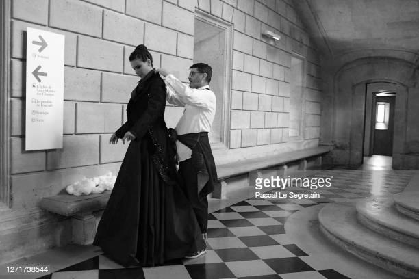 "French fashion designer Franck Sorbier dresses Jeade Pasquier, La commedia character for the ""Il Medico Della Peste"" 2020/2021 Winter Franck Sorbier..."