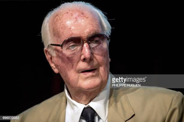 French fashion designer Hubert de Givenchy attends a press conference to present an exhibition dedicated to his 40year career on June 15 2017 at the...