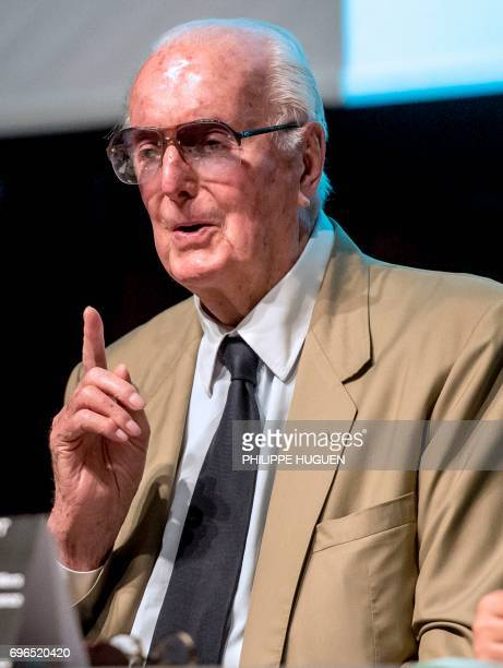 French fashion designer Hubert de Givenchy speaks during a press conference to present an exhibition dedicated to his 40year career on June 15 2017...