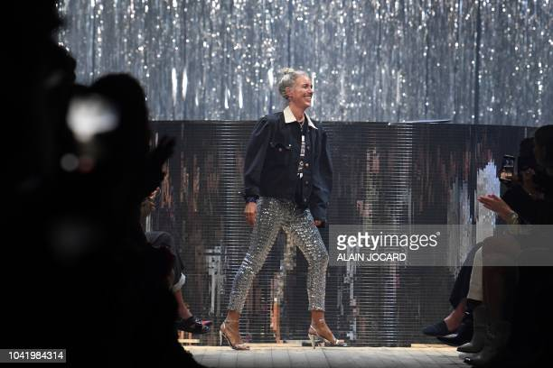 French fashion designer Isabel Marant acknowledges the audience at the end of the Isabel Marant SpringSummer 2019 ReadytoWear collection fashion show...
