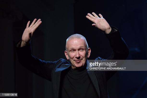 French fashion designer Jean Paul Gaultier acknowledges the audience at the end of his Women's FallWinter 2019/2020 Haute Couture collection fashion...