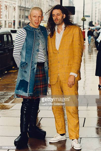 French fashion designer Jean Paul Gaultier with Irish singersongwriter and political activist Bob Geldof UK circa 1990