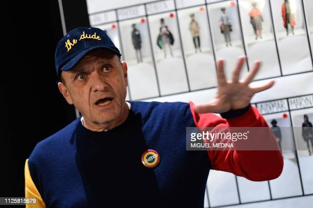French fashion designer JeanCharles de Castelbajac speaks on February 19 2019 in Milan during a press conference ahead of the presentation of the...