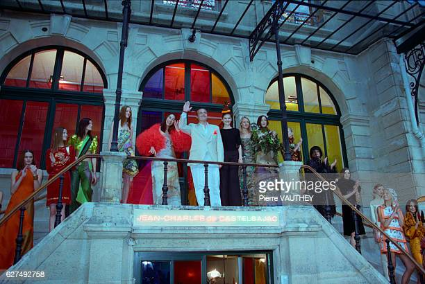 French fashion designer JeanCharles de Castelbaljac and models wearing haute couture designed by Castelbajac at the JeanCharles de Castelbaljac...