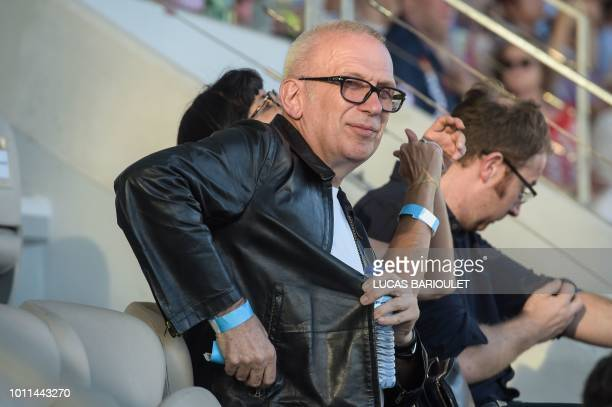 French fashion designer JeanPaul Gaultier is pictured as he attends the opening ceremony of the 2018 Gay Games edition at the Jean Bouin stadium in...