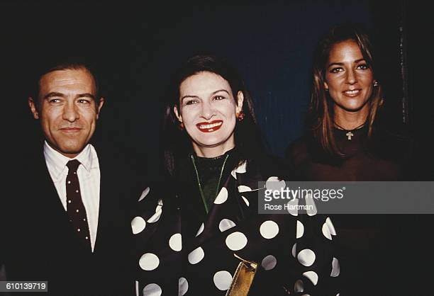 French fashion designer Paloma Picasso with husband Rafael Lopez Sanchez and Kelly Klein at a Pools launch party circa 1990