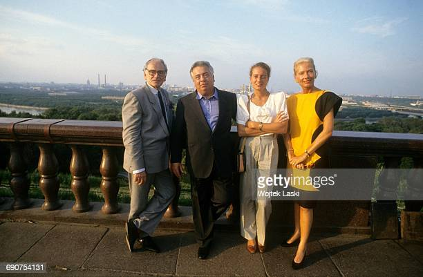 French fashion designer Pierre Cardin and Italian entrepreneur Giuseppe Ciarrapico with his family Moscow Russia in 1991