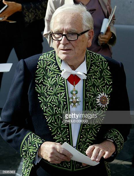 French fashion designer Pierre Cardin arrives at Santa Maria degli Angeli church in Rome for the wedding of French actress Clotilde Courau and...